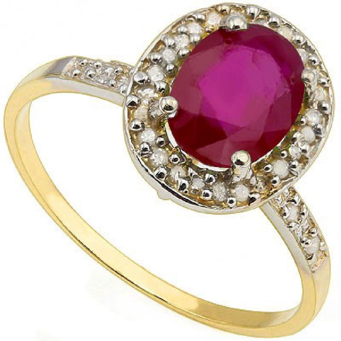 10K GOLD GORGEOUS 1CT AFRICAN RUBY/DIAMOND RING