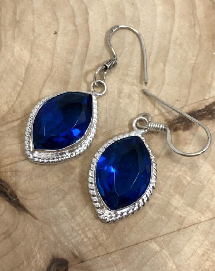 FACETED BLUE QUARTZ GEMSTONE EARRINGS