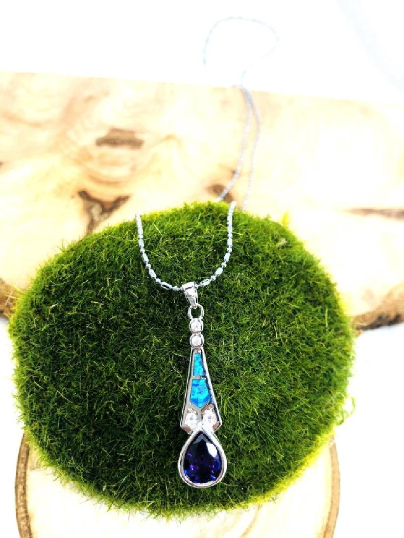 GLAM OPAL INLAID AMETHYST DROP PENDANT NECKLACE