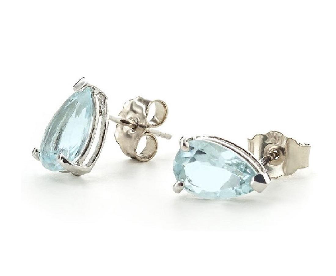 1CT TEARDROP AQUAMARINE SOLITAIRE EARRINGS