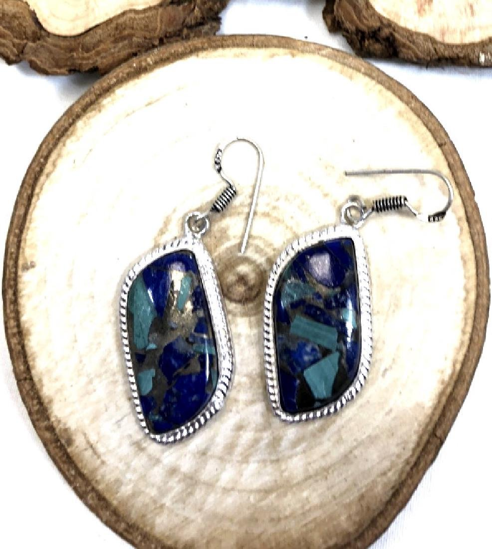 HANDMADE SMOOTH LAPIS STERLING SILVER EARRINGS