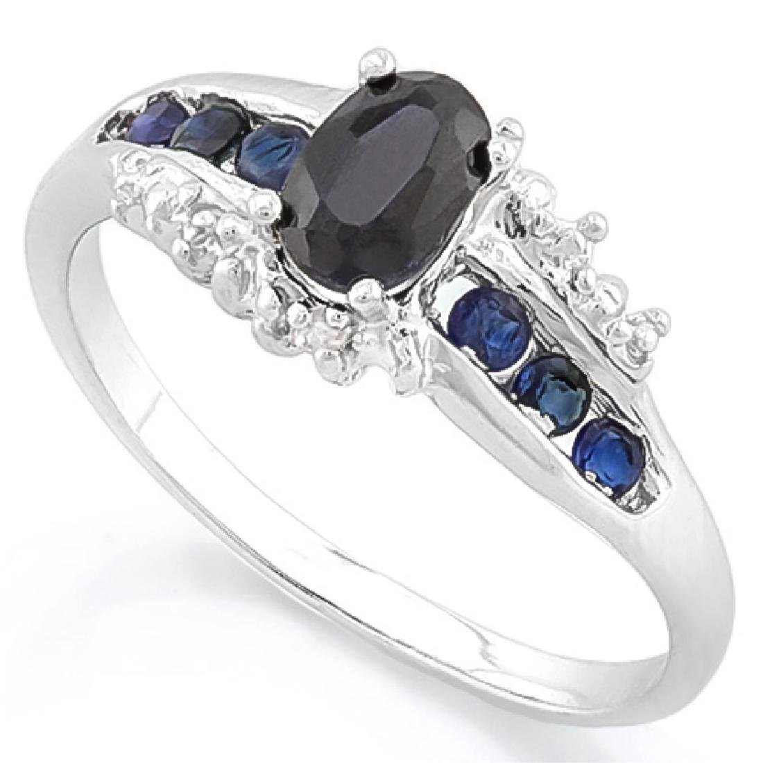 ANTIQUE STYLE MIDNIGHT BLUE SAPPHIRE STERLING RING