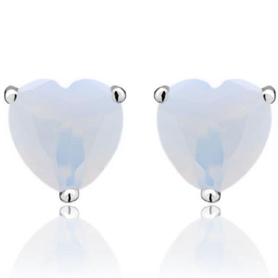1CT FIRE OPAL HEART CUT SOLITAIRE EARRINGS