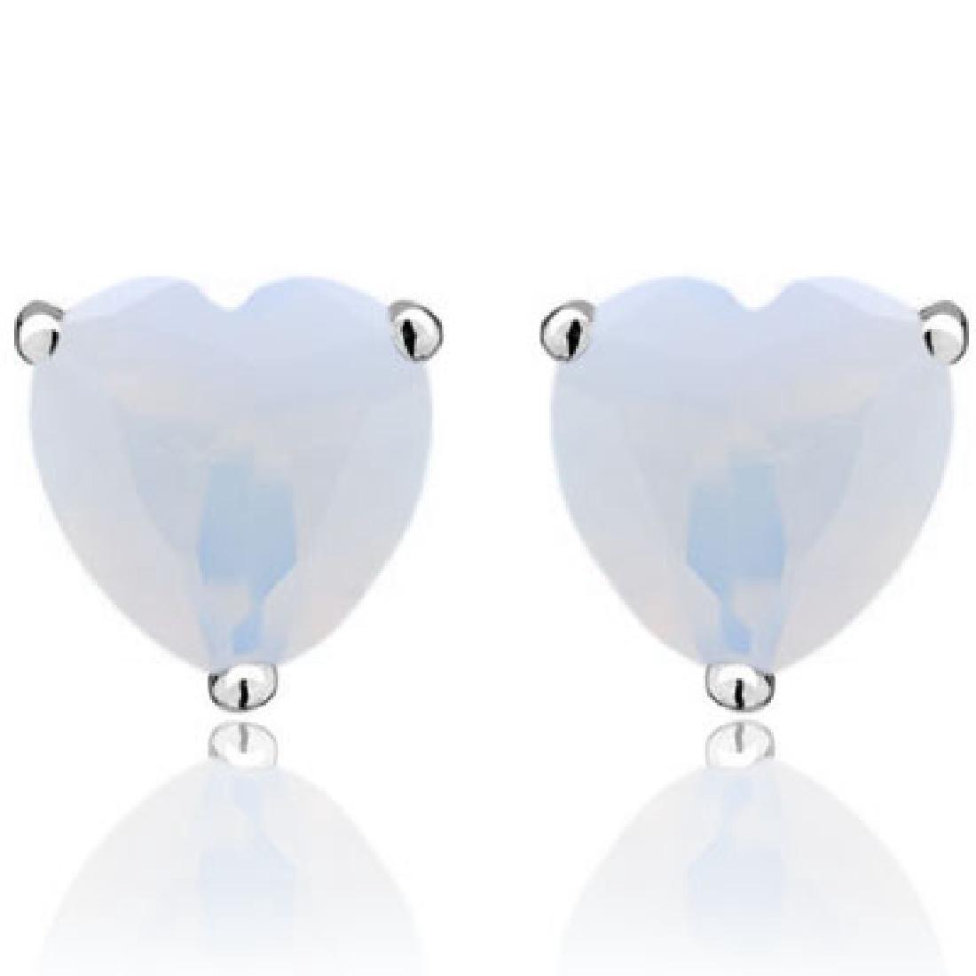 1CT FIRE OPAL HEART CUT SOLITAIRE EARRINGS