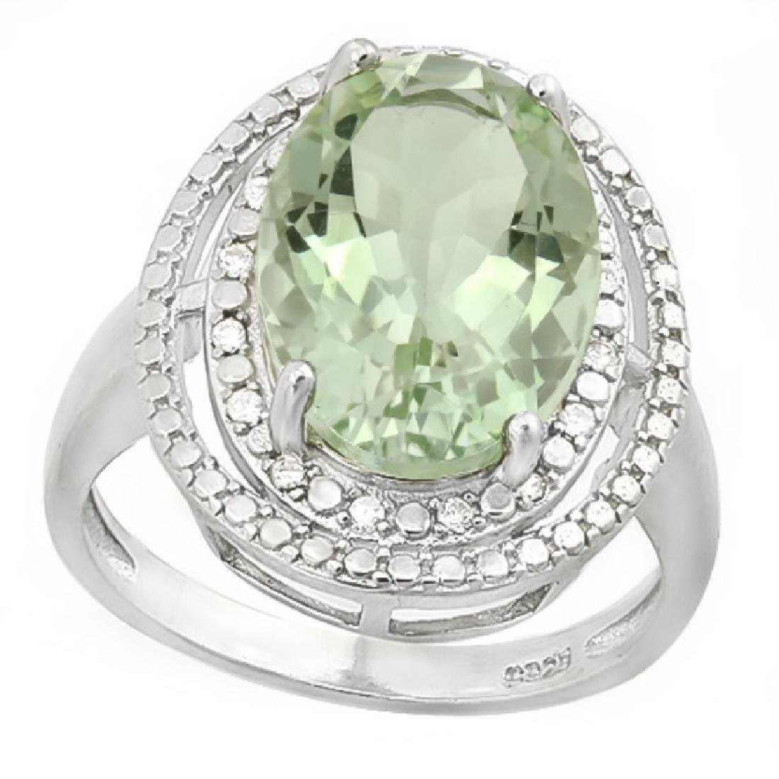 STUNNING 6CT FACETED GREEN TOPAZ/DIAMOND COCKTAILR