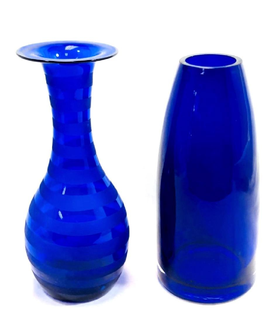 LOT OF 2 BEAUTIFUL BLUE COBALT ART GLASS VASES
