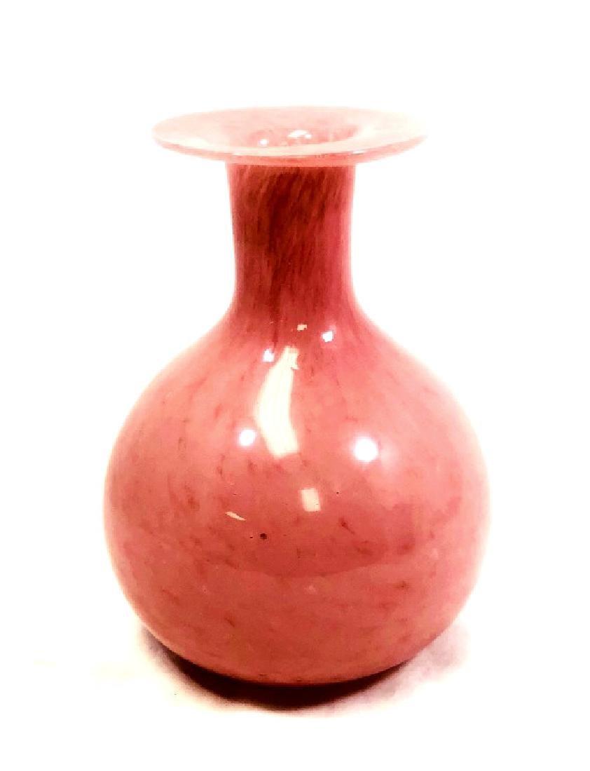 LOVELY ITALIAN PINK HANDBLOWN MURANO GLASS VASE