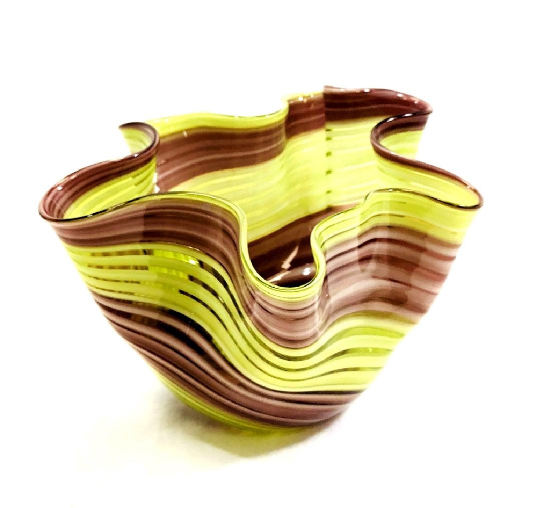 VINTAGE LAVENDAR/GREEN SWIRL MURANO GLASS BOWL