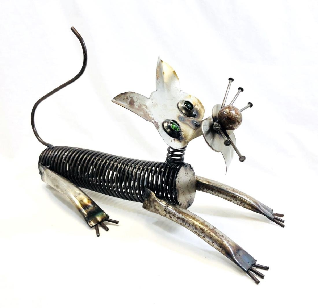 VERY UNIQUE HANDMADE METAL CAT SCULPTURE