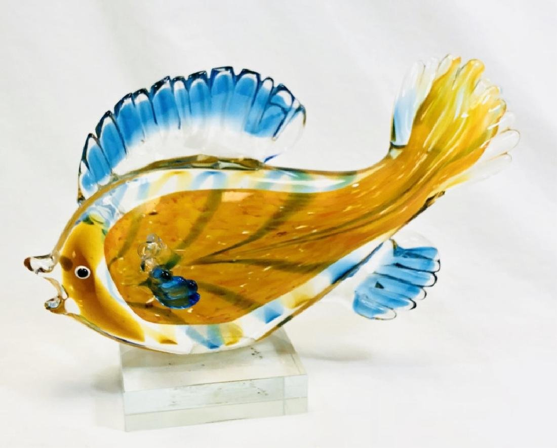 STUNNING MURANO ORANGE GLASS FISH SCULPTURE