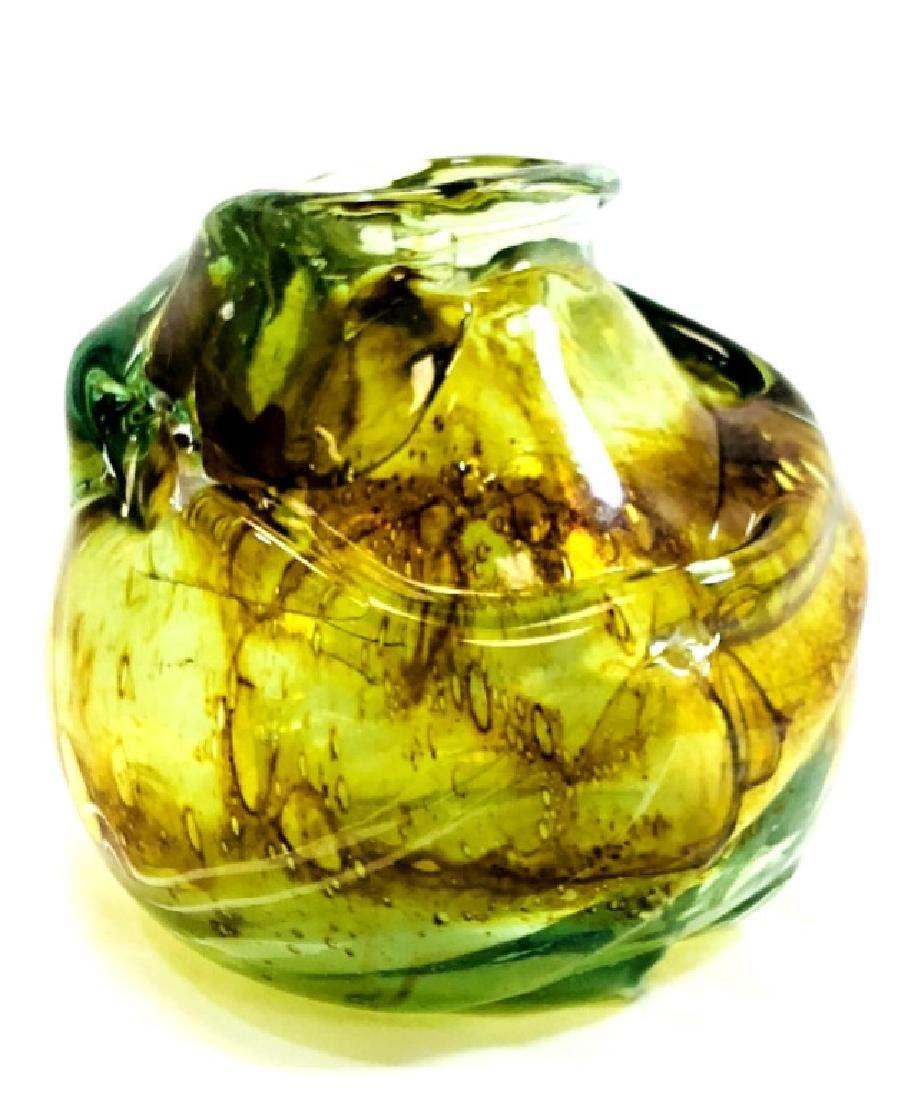 STUNNING HAND BLOWN MURANO GREEN GLASS VASE
