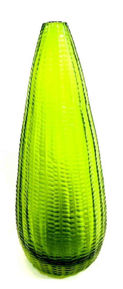 COOL BRIGHT GREEN MURANO SIGNED GLASS VASE