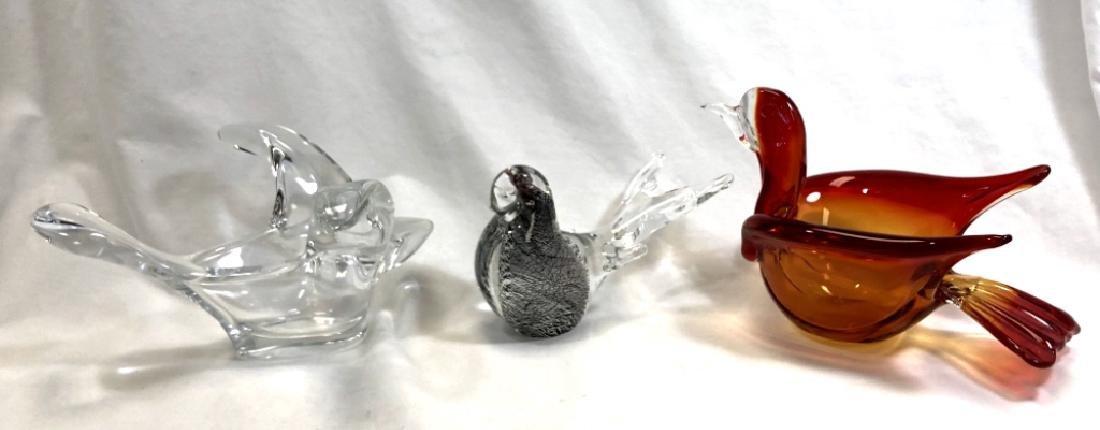 LOT OF 3 MURANO GLASS BIRDS