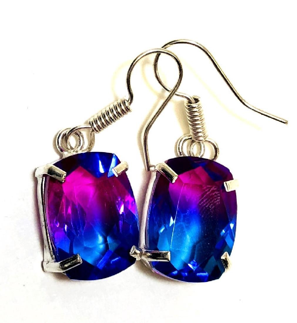 10CT GORGEOUS RAINBOW TOURMALINE STERLING EARRINGS