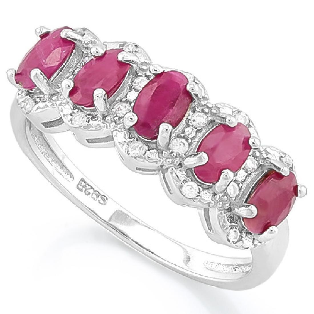 FABULOUS 8CT GENUINE RUBY/DIAMOND OVAL ROW RING