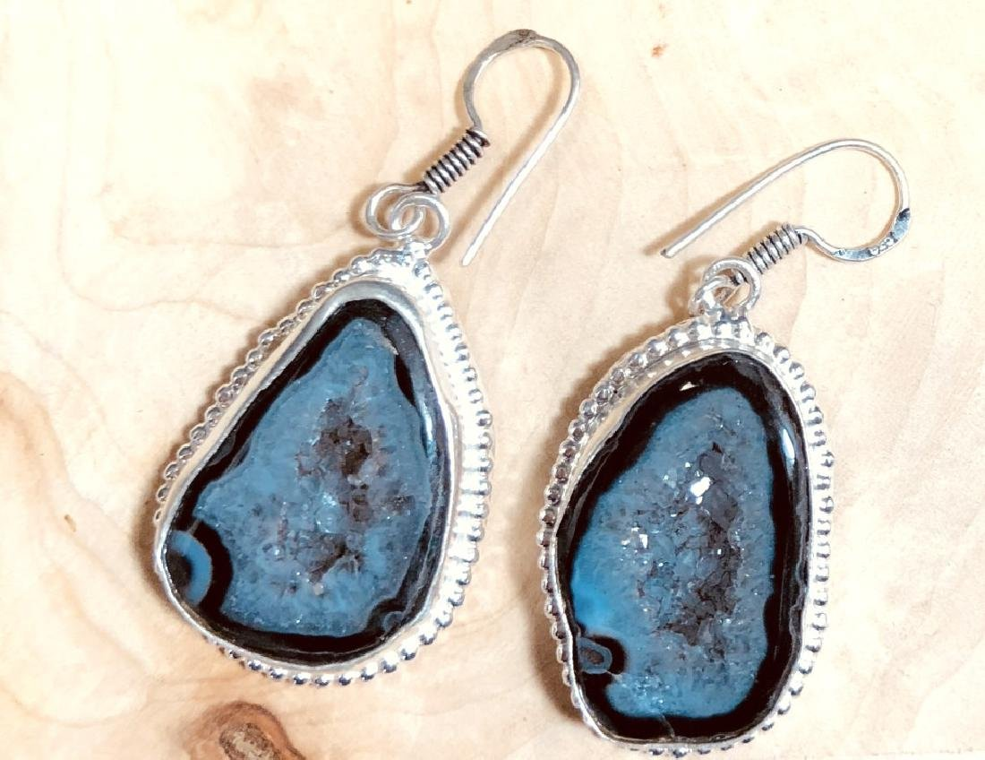 BEAUTIFULLY POLISHED ONYX AGATE STERLING EARRINGS