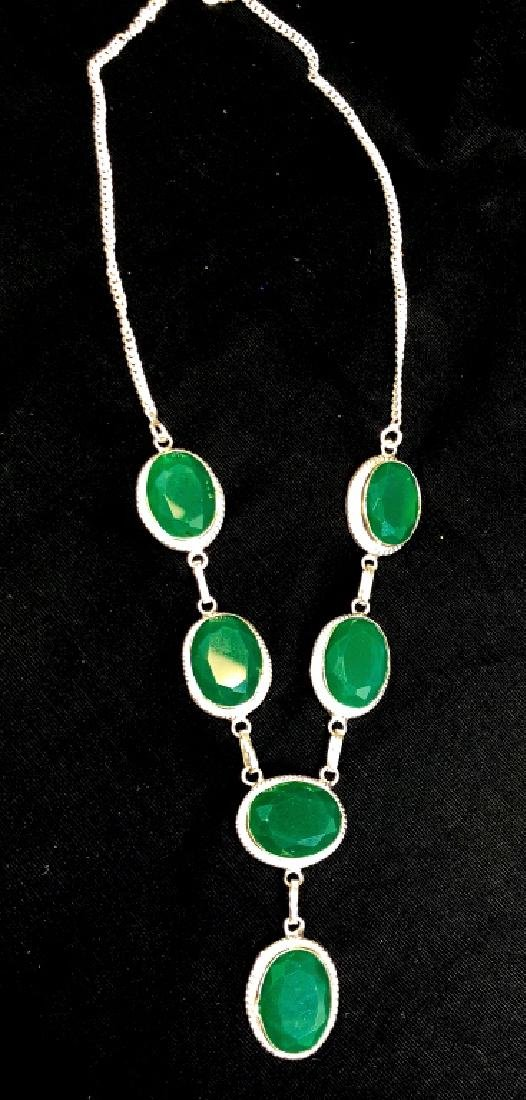 GLAM FACETED EMERALD QUARTZ STERLING NECKLACE