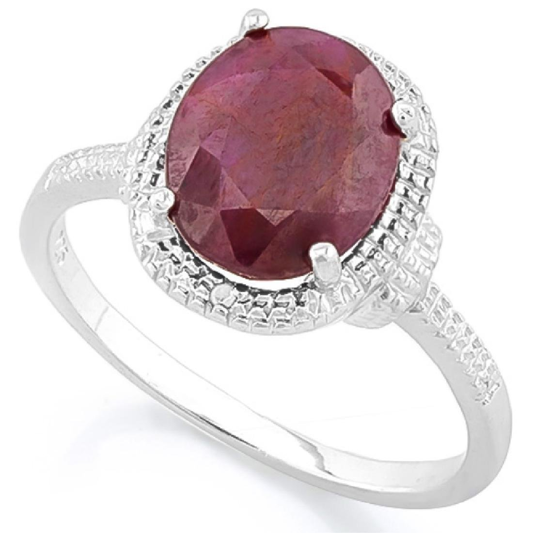 LUXURIOUS 3CT RUBY/DIAMOND STERLING ESTATE RING