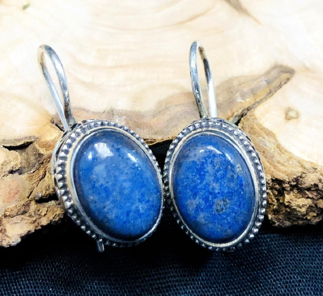HANDMADE LAPIS LAZULI FILIGREE STERLING EARRINGS