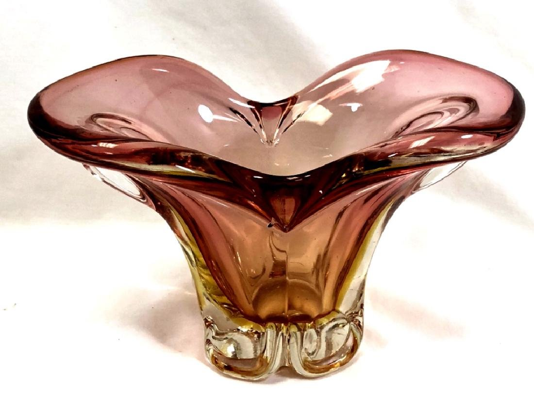 GORGEOUS MURANO PINK TO YELLOW SOMMERSO VASE