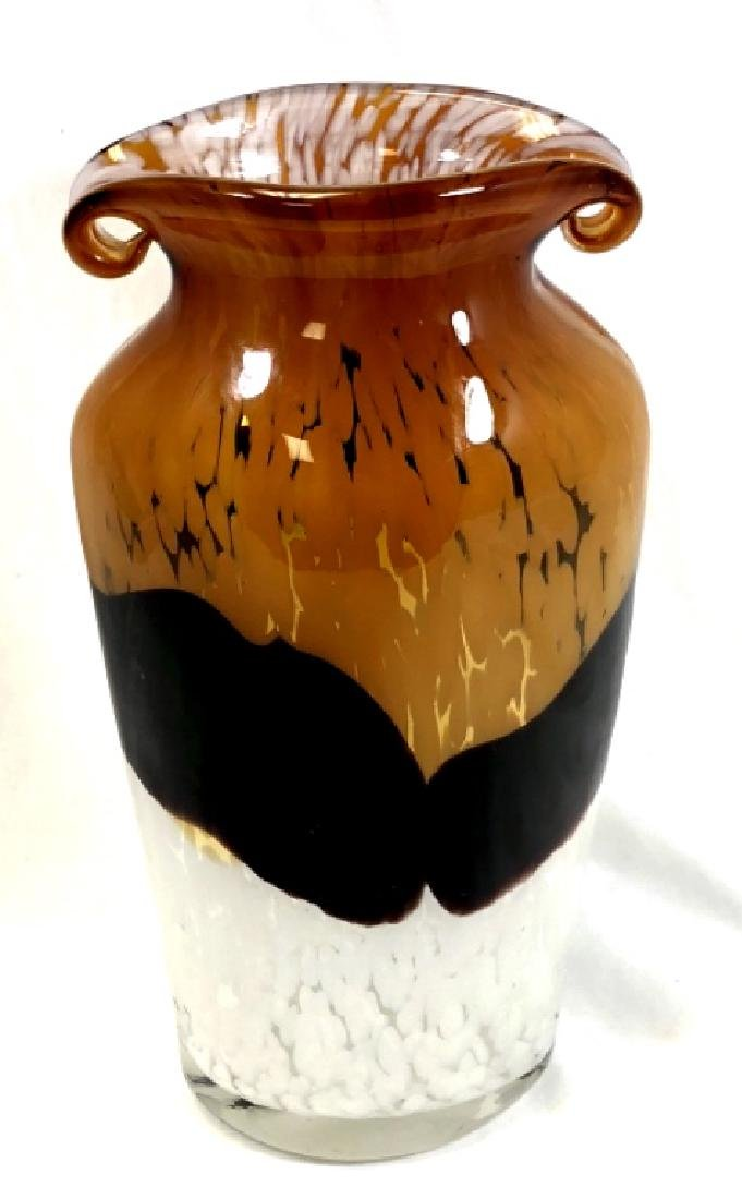 STUNNING MURANO PEARL TO AMBER SCROLL TOP VASE