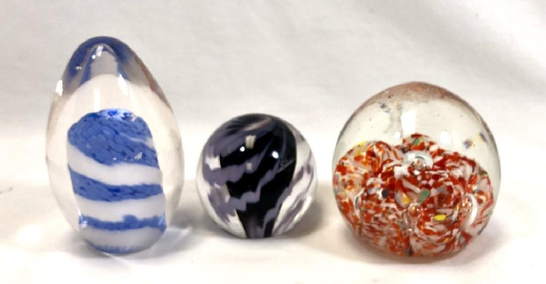 LOT OF 3 MURANO COLOR 3D GLASS PAPERWEIGHTS