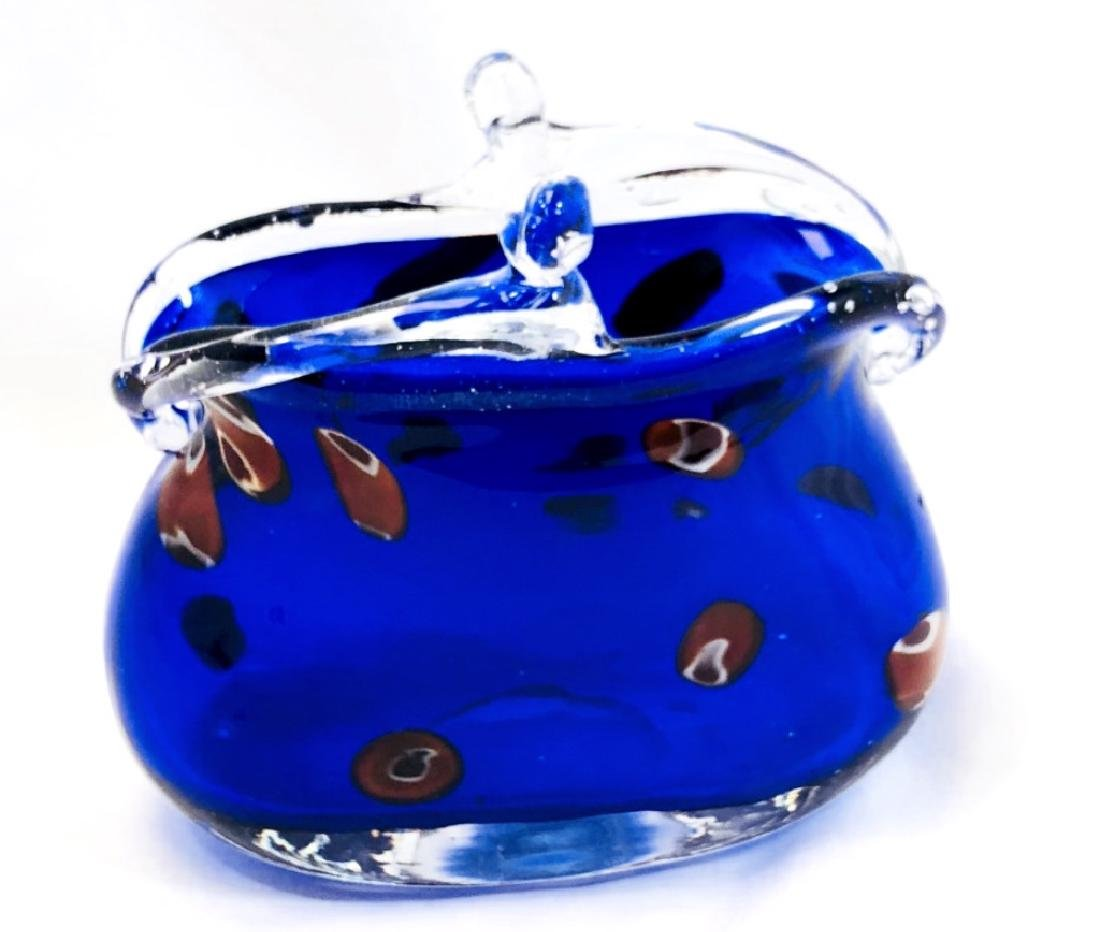 VINTAGE MURANO GLASS DEEP BLUE RED SPOT DECO PURSE