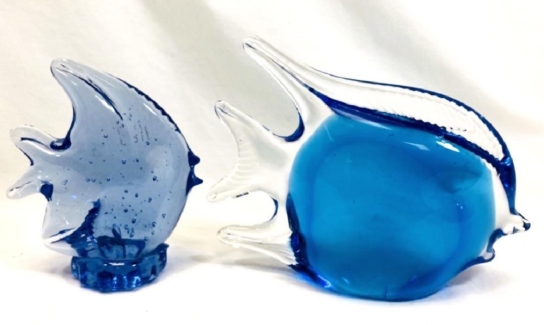 LOT OF 2 MURANO COBALT GLASS FISH