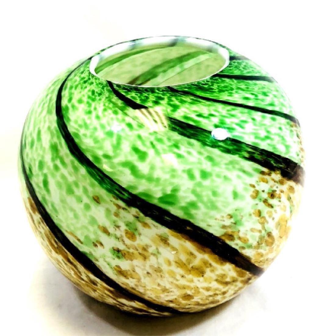 SPECTACULAR MURANO GREEN TO BROWN FISHBOWL VASE