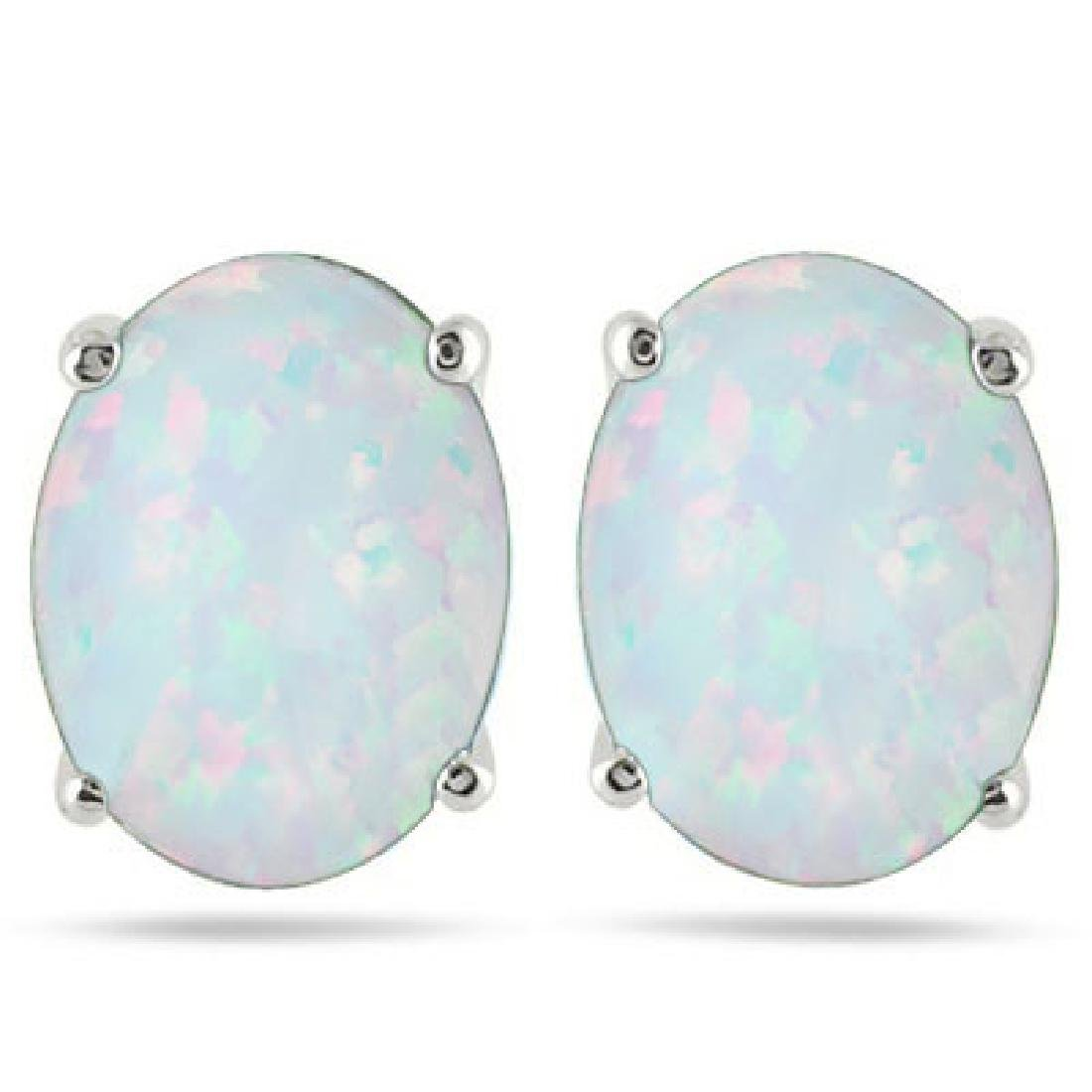 PRETTY OVAL CUT FIRE OPAL SOLITAIRE EARRINGS