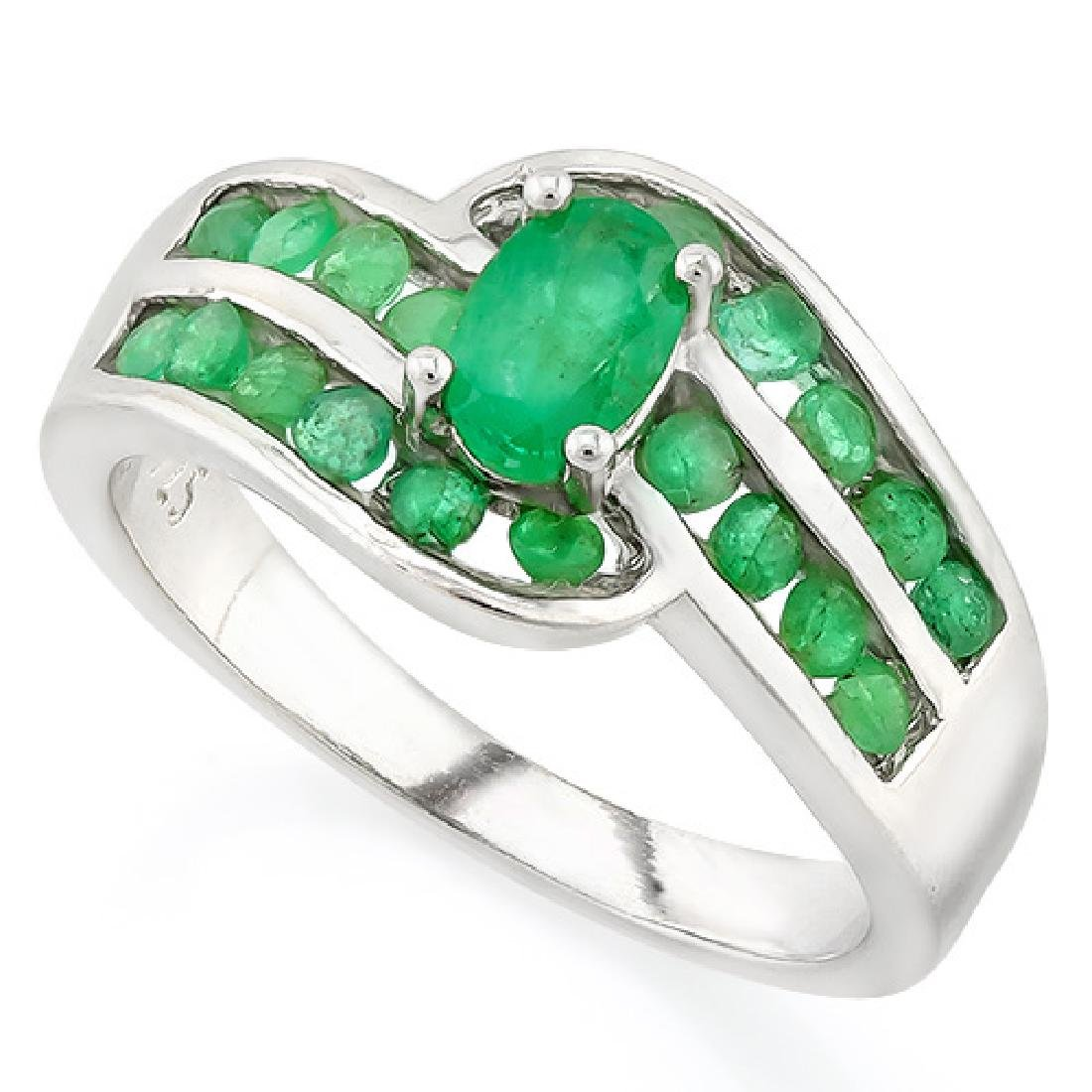 GORGEOUS GENUINE EMERALD 1CT STERLING SILVER RING