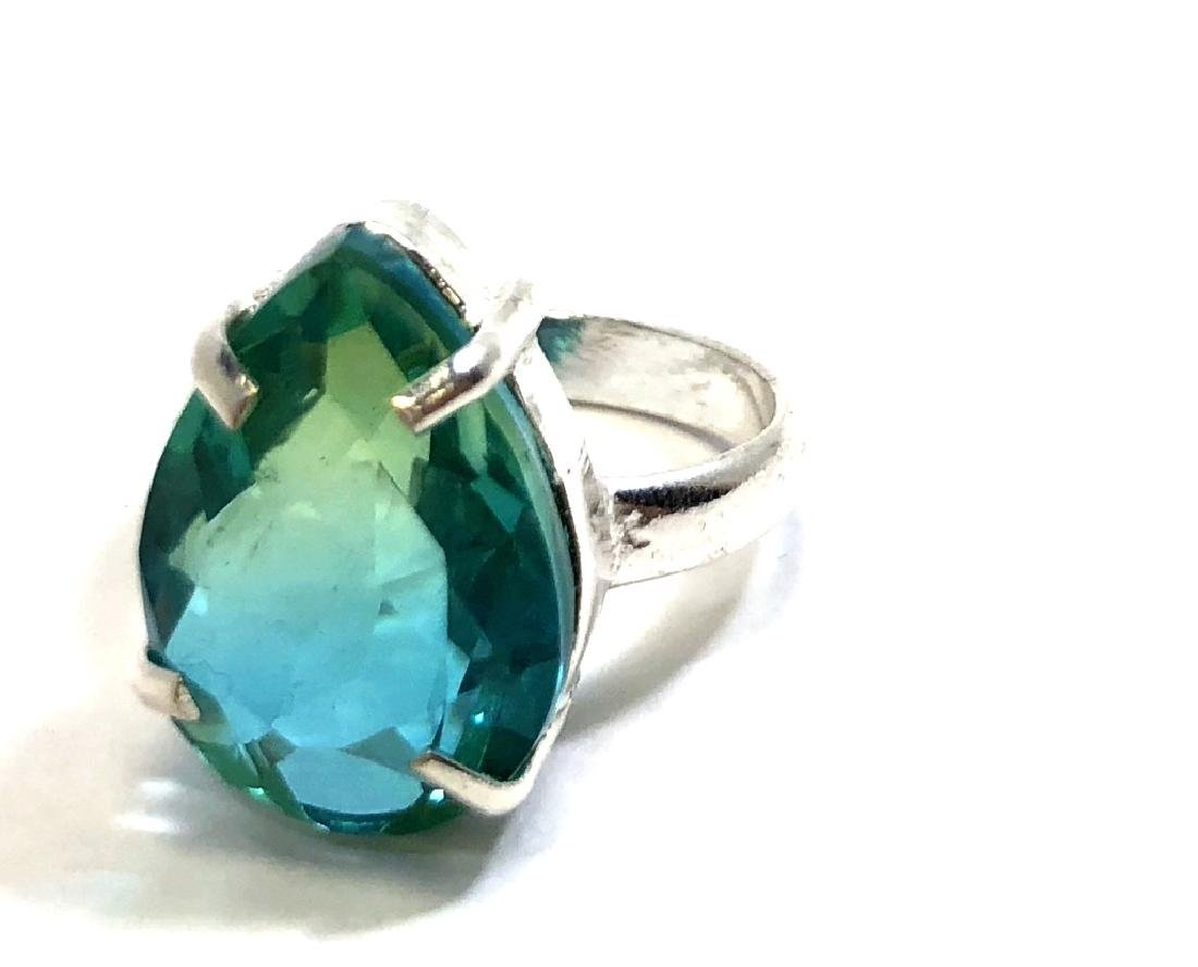 GLAM 8CT FACETED BLUE/GREEN TOURMALINE STERLING RG