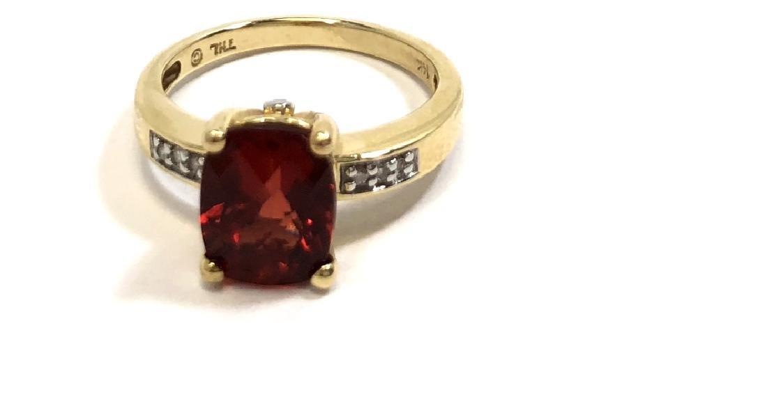 SMASHING 14K GOLD RASPBERRY GARNET & DIAMOND RING