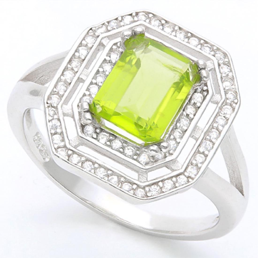 1CT ART DECO PERIDOT/DIAMOND STERLING RING