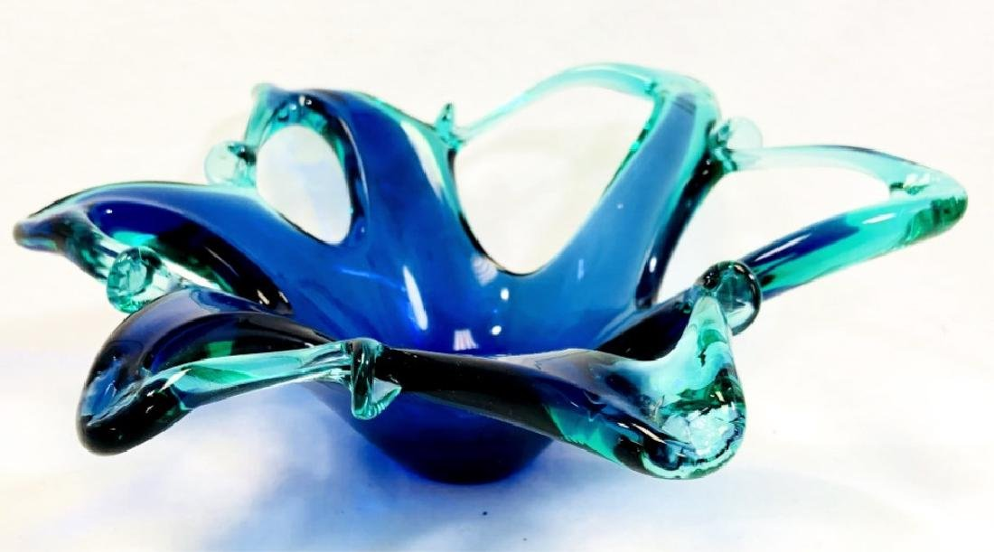 """VINTAGE MURANO BLUE/GREEN """"HOLES"""" CANDY DISH"""