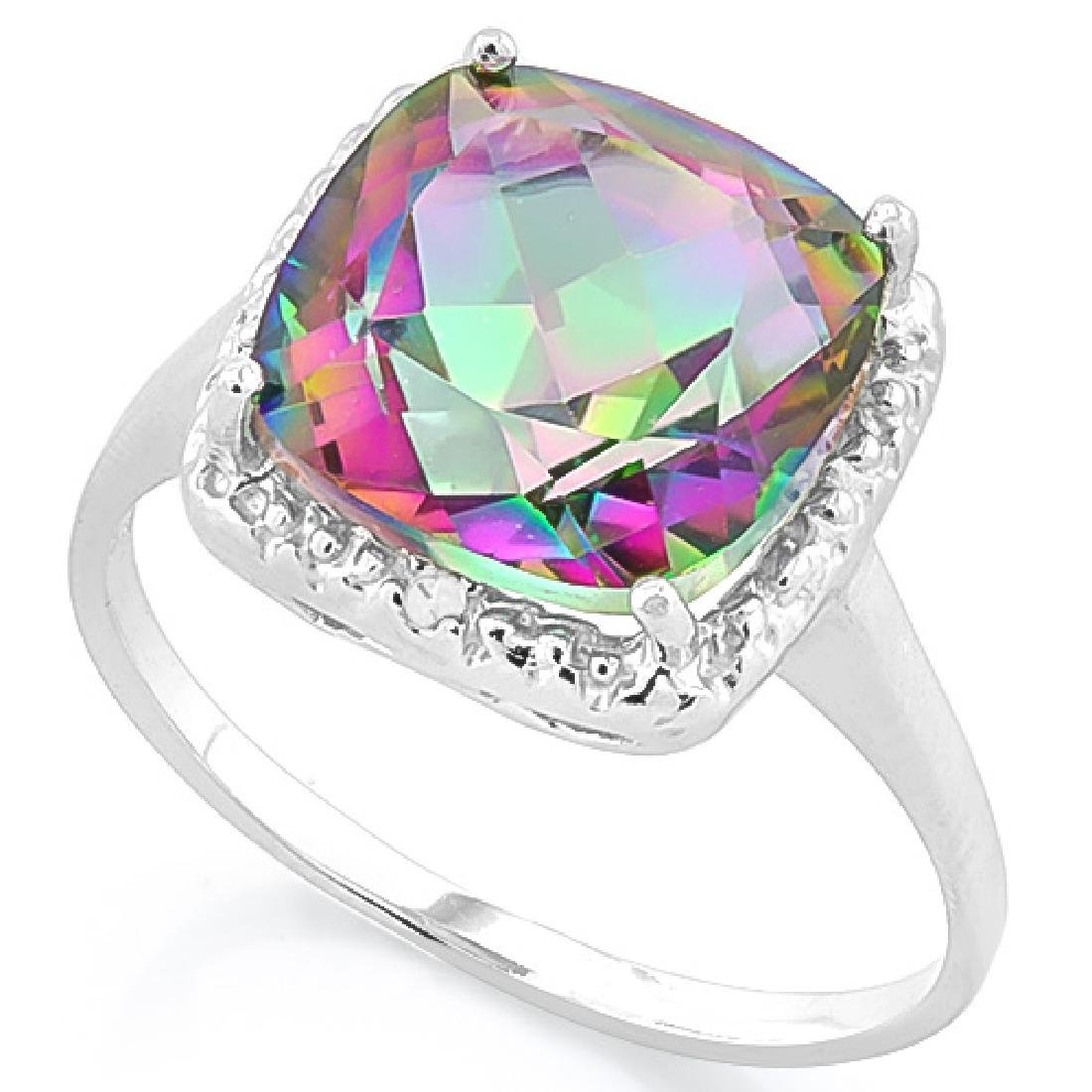 GLISTENING 4CT MYSTIC TOPAZ/DIAMOND ESTATE RING
