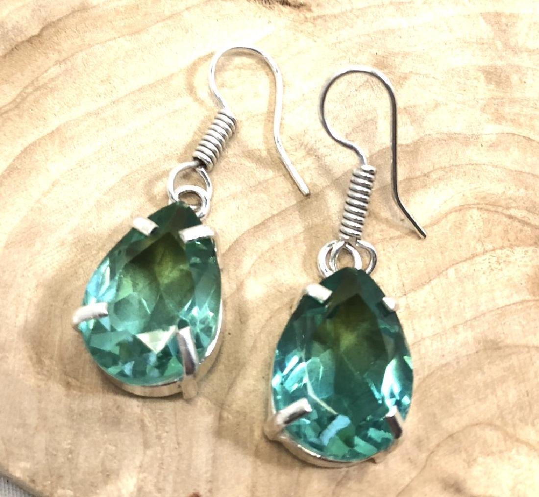 BRIGHT BLUE/GREEN 20CT TOURMALINE DANGLE EARRINGS