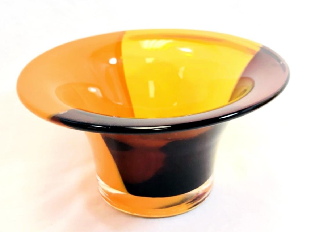 COOL DARK LAVENDAR/ORANGE MURANO GLASS BOWL