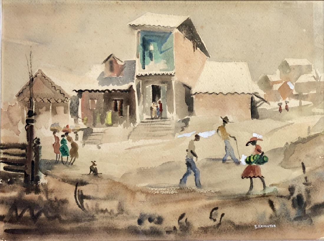 ROBERT KRAEUTER HAITIAN WATERCOLOR