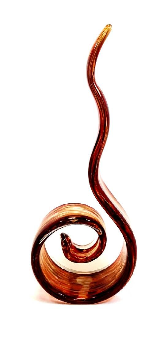 FIRE ORANGE W/GOLD  MURANO GLASS SWIRL SCULPTURE