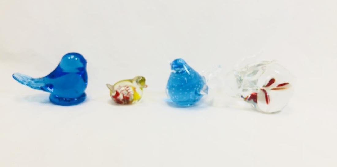 LOT OF 4 ART GLASS ANIMAL FIGURINES