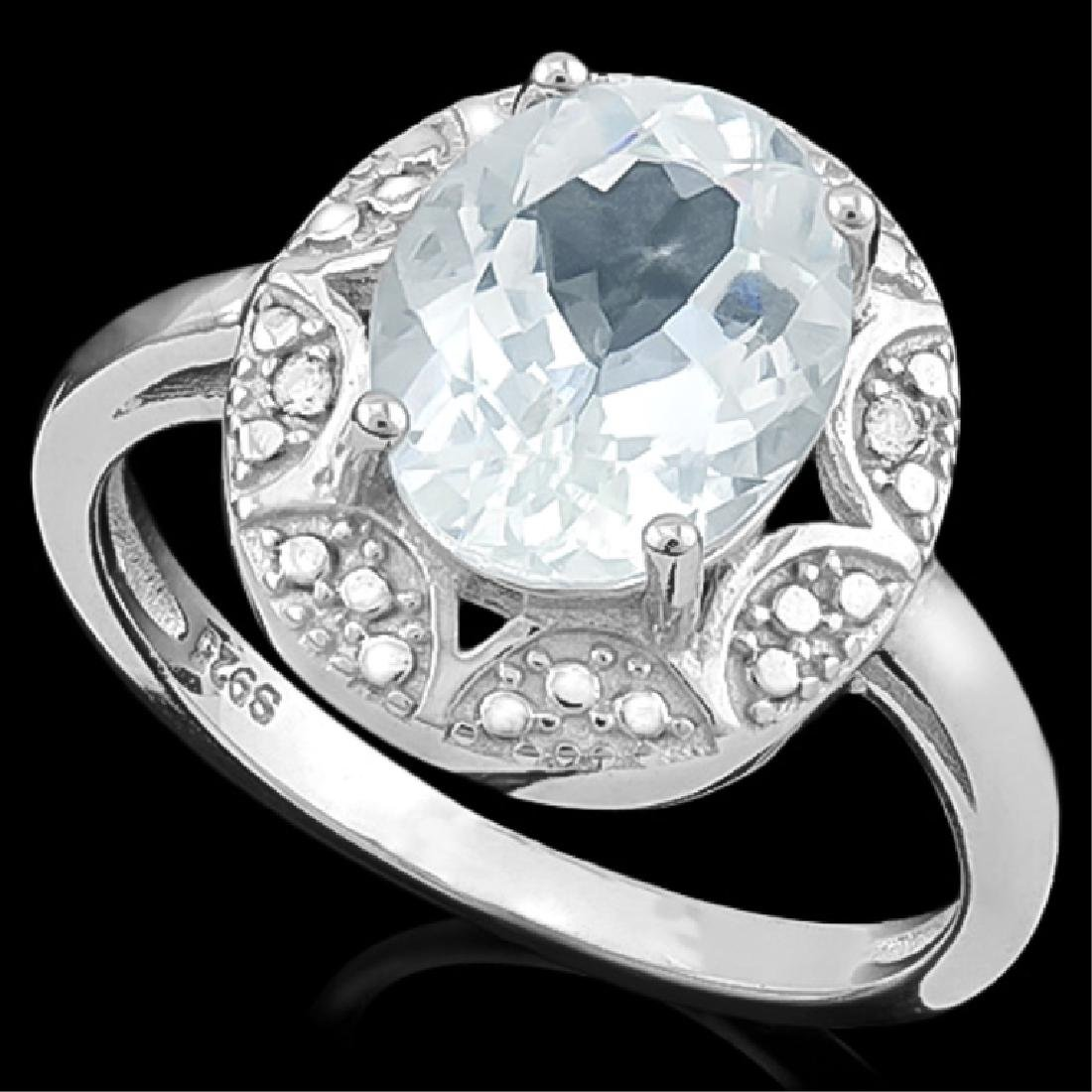 FABULOUS FACETED OVAL AQUAMARINE 2CT RING