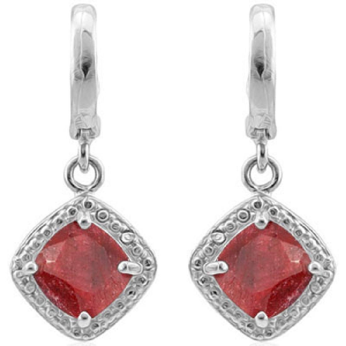 STERLING SILVER DIAMOND AND RUBY STERLING EARRINGS