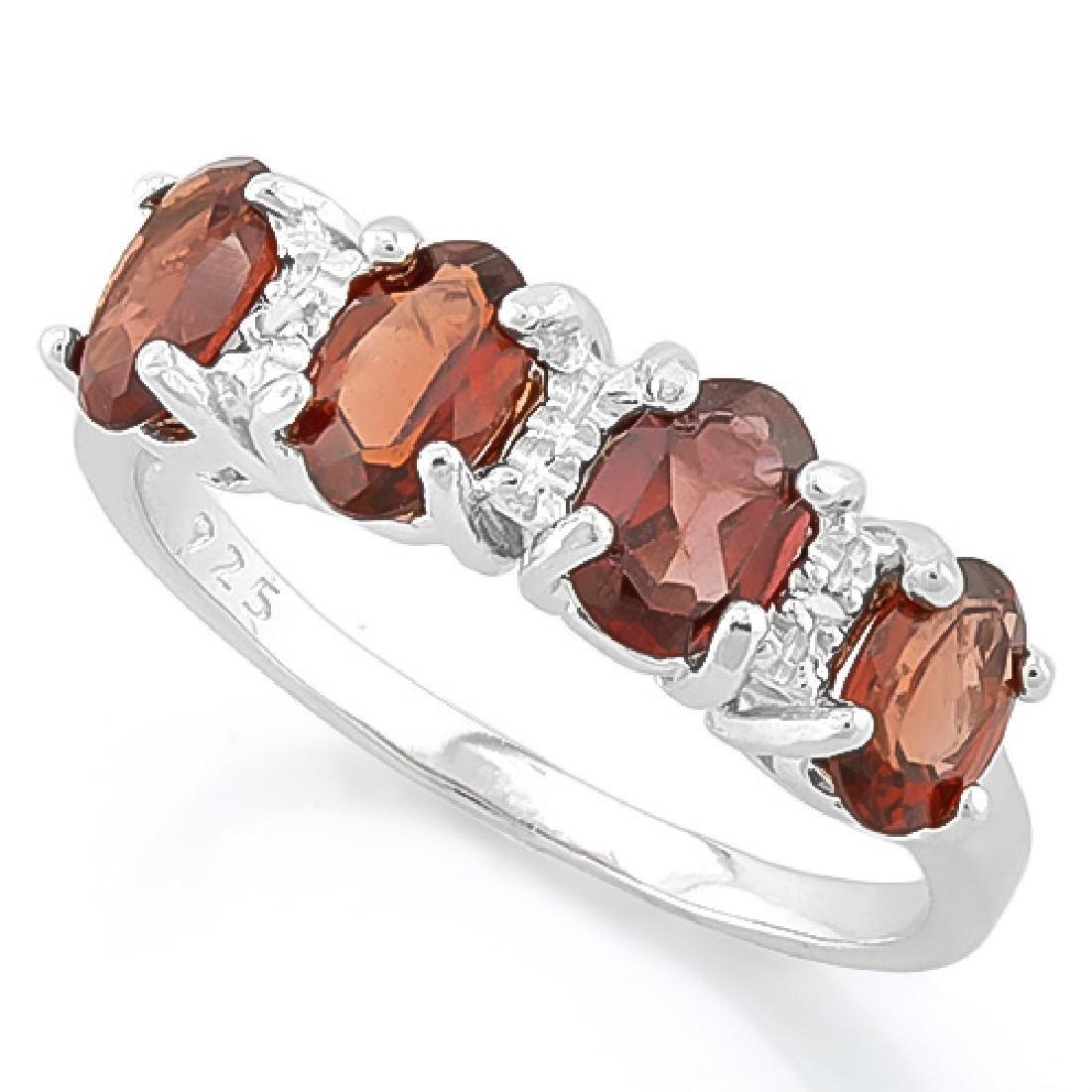 AMAZING 8CT GARNET/DIAMOND ROW STERLING RING