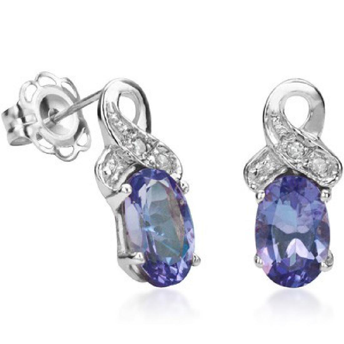 GLAM GENUINE TANZANITE/DIAMOND STERLING EARRINGS