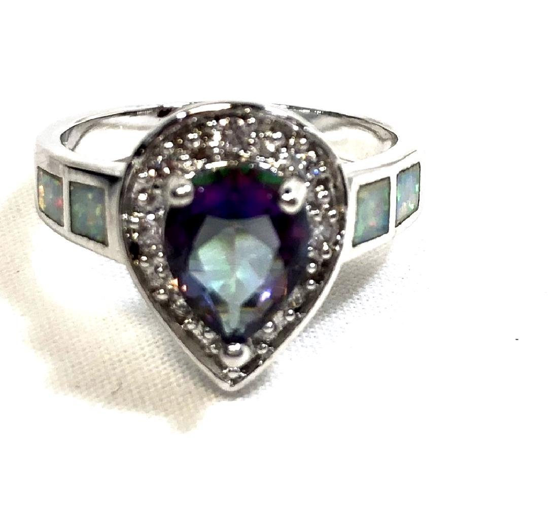 LOVELY TEARDROP MYSTIC AND WHITE TOPAZ STERLING RG