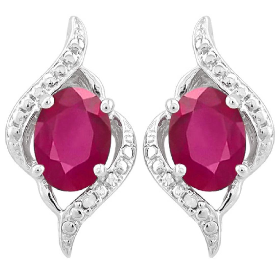 AMAZING 2CT AFRICAN RUBY OVAL ACCENT EARRINGS