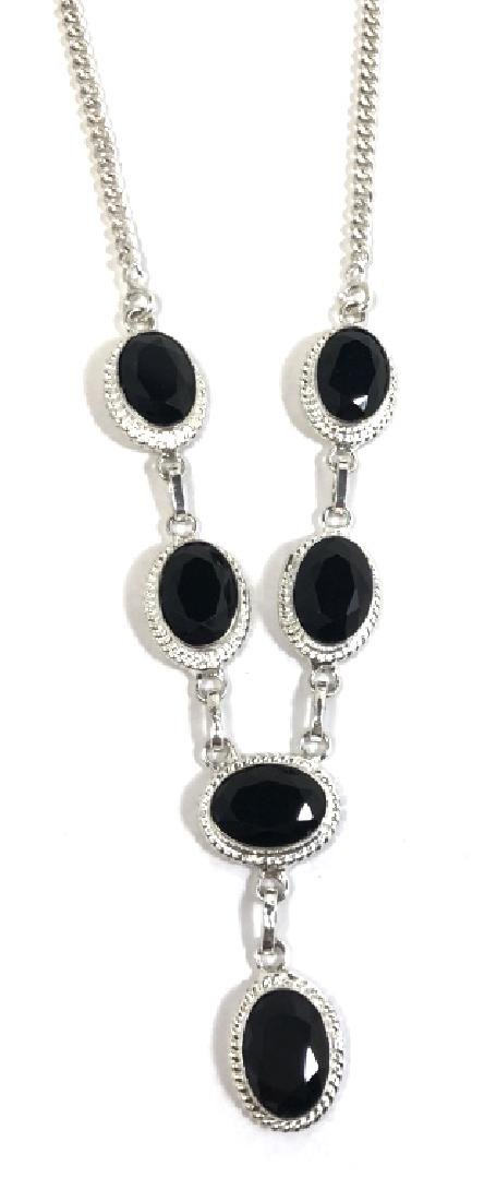 STUNNING FACETED BLACK ONYX STERLING NECKLACE