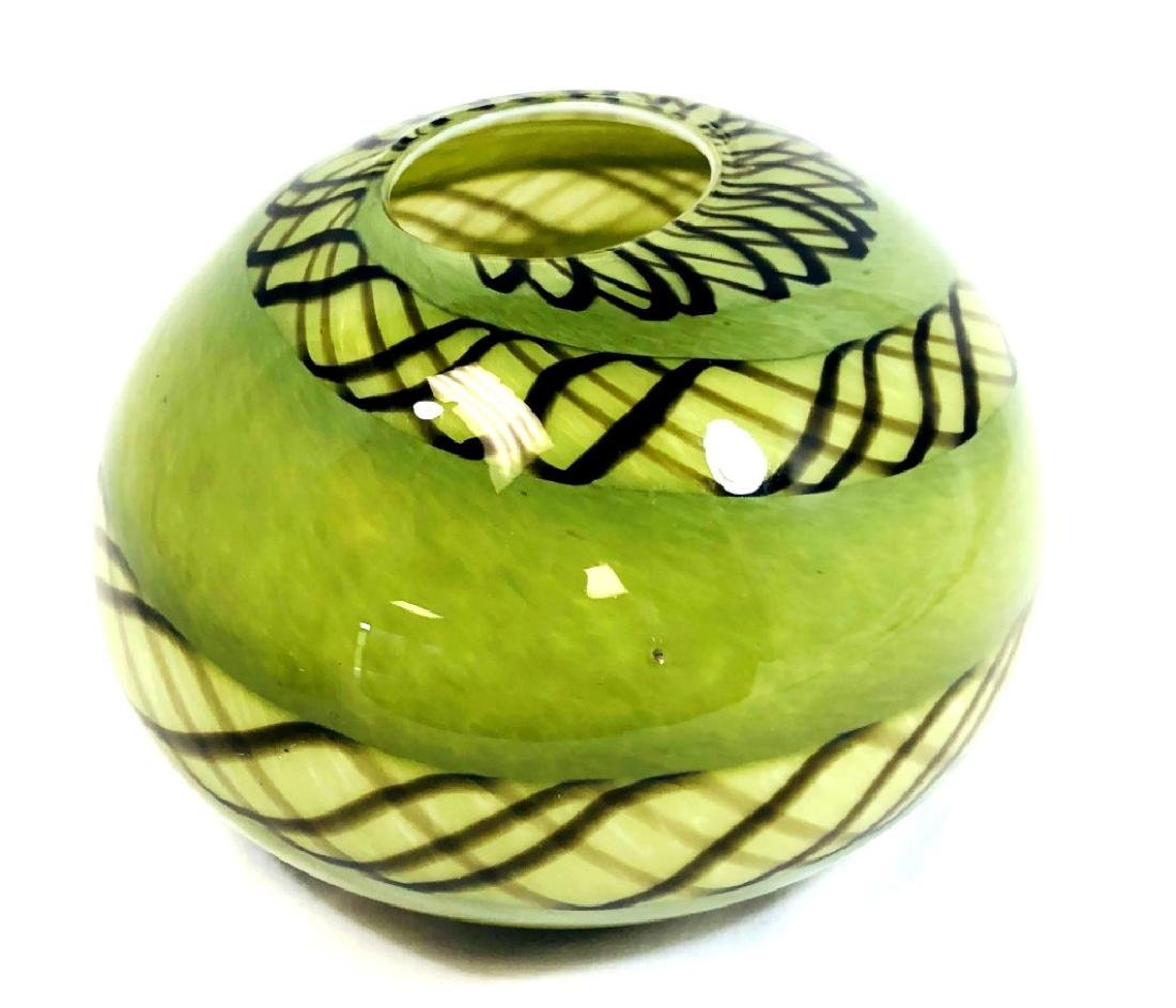 SMASHING MURANO ARTISTIQUE GREEN BOWL VASE