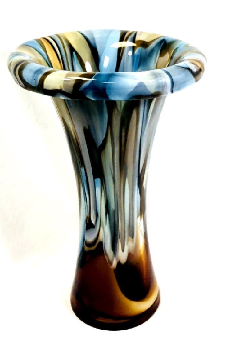 STUNNING WATERFORD EVOLUTION TEAL AND AMBER VASE